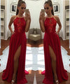 Sexy Unique Red A-Line Halter Split-Front Formal Dress Chiffon Sleeveless Long Prom Dresses
