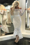 Mermaid Ivory Straight Across Floor-Length Long Sleeve Appliqued Lace Wedding Dresses
