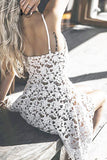 White High Low Spaghetti Hollow Lace V-Neck Sweetheart Homecoming Dress
