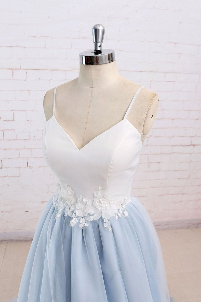 Simple A-Line Light Blue Sweetheart Spaghetti Straps Chic Blue Tulle Backless Prom Dresses