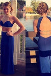 Sexy Two Pieces Open Back Royal Blue Mermaid Halter High Neck Beading Long Prom Dress