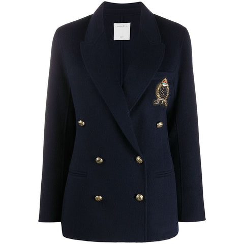 Sandro Wool Zweireiher Patch Detail Coat Blazer | Zoom Boutique