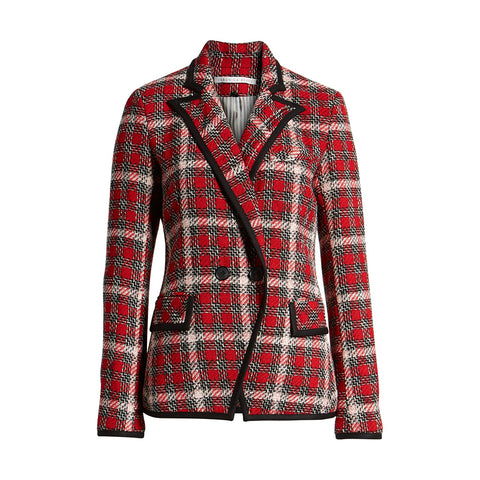 Veronica Bart Harriet Cutaway Red Checked Blazer | Zoom Boutique