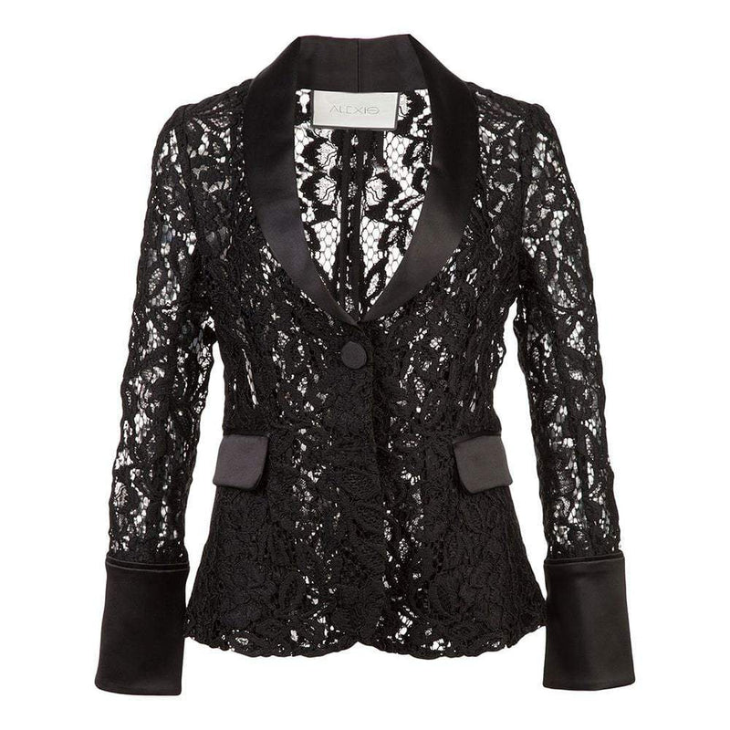 Alexis Bonis V Neck Sheer Lace Blazer RRP$546 XS Zoom Boutique Store coat Buy Alexis Bonis V Neck Sheer Lace Blazer | Zoom Boutique