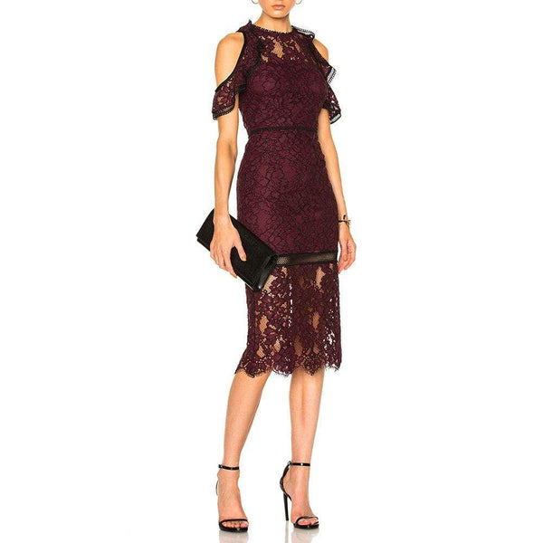Alexis Evie Cold Shoulder Sheer Lace Sheath Pencil Midi Dress Zoom Boutique Store dress Alexis Evie Cold Shoulder Lace Sheath Pencil Midi Dress |Zoom Boutique