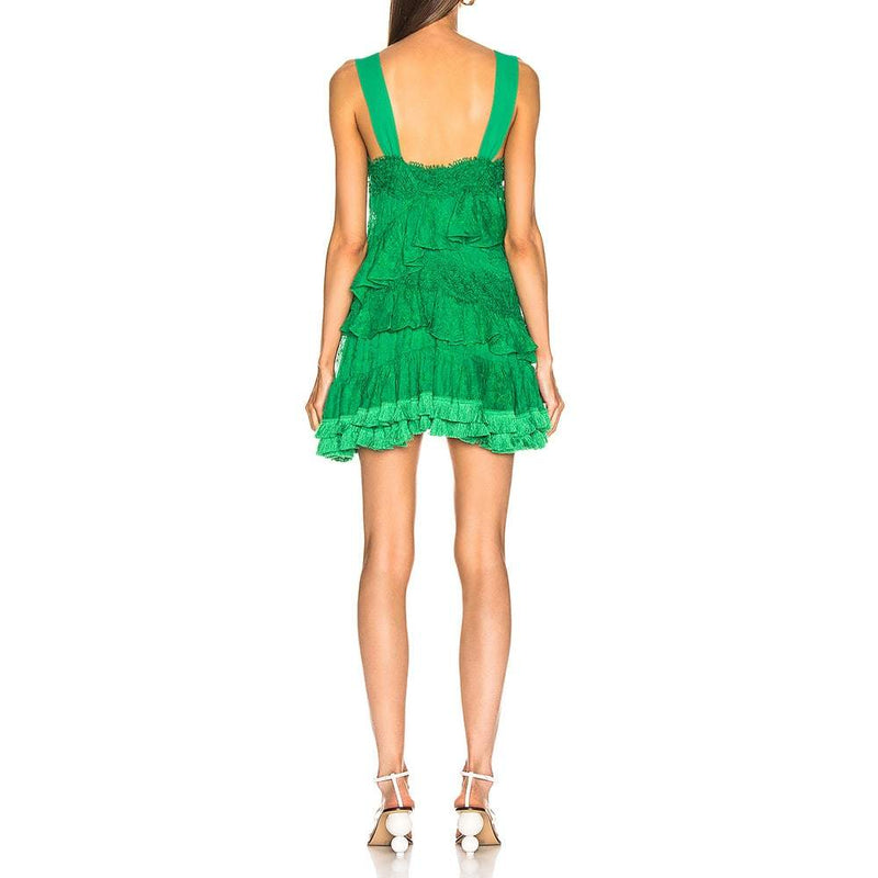 ALEXIS Lakshmi Ruffle Fringe Hem Floral Lace Mini Dress RRP$568 Zoom Boutique Store dress ALEXIS Lakshmi Ruffle Fringe Floral Lace Dress | Zoom Boutique