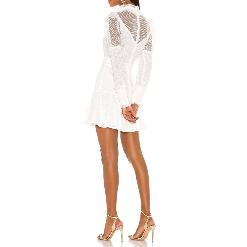 ALEXIS Madilyn Lace Panel Mini Dress RRP$766 Zoom Boutique Store dress ALEXIS Madilyn Lace Panel Mini Dress | Zoom Boutique