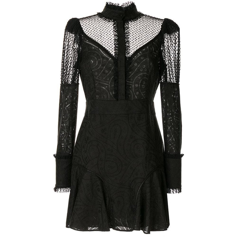 ALEXIS Madilyn Lace Panel Mini Dress RRP$766 XS / Black Zoom Boutique Store dress ALEXIS Madilyn Lace Panel Mini Dress | Zoom Boutique