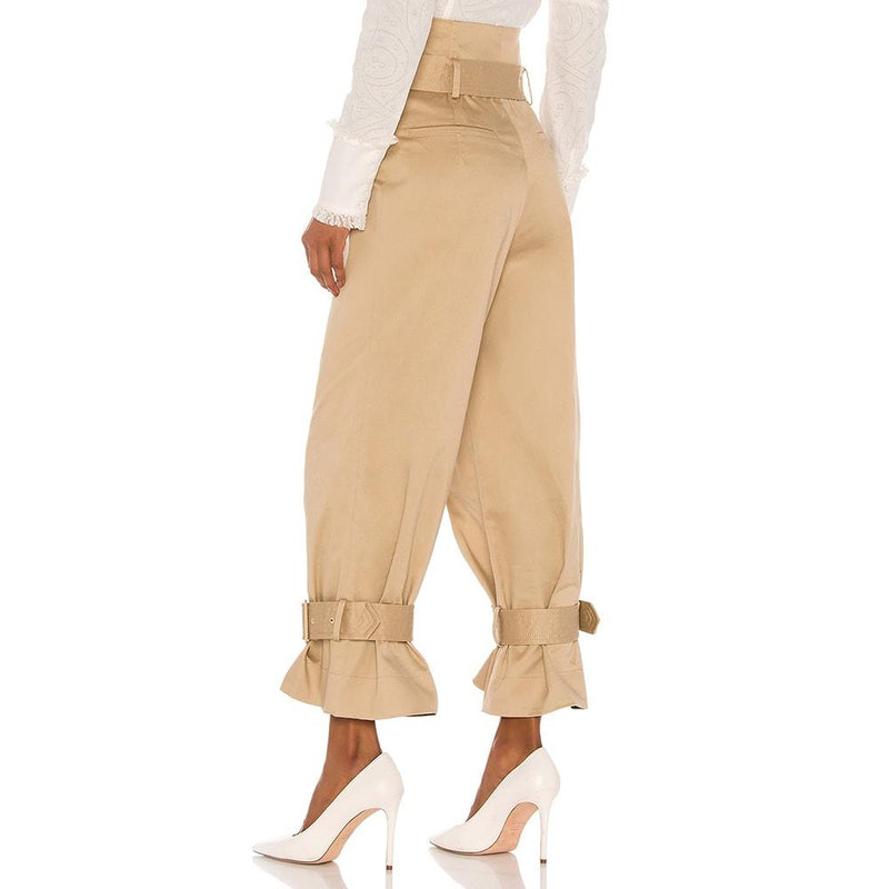 Alexis Vicente Belted Twill Pants in Tan RRP$546 Zoom Boutique Store pants Alexis Vicente Belted Twill Pants in Tan | Zoom Boutique