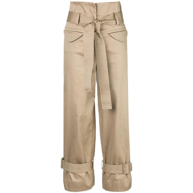 Alexis Vicente Belted Twill Pants in Tan RRP$546 XS Zoom Boutique Store pants Alexis Vicente Belted Twill Pants in Tan | Zoom Boutique