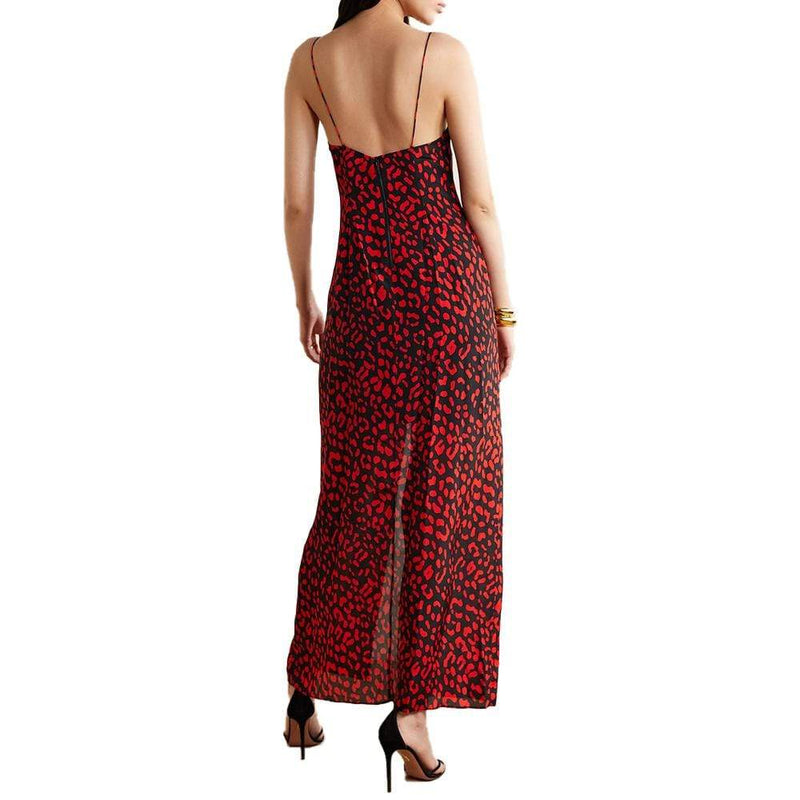 Alice + Olivia Candice Leopard Print V Neck Silk Maxi Dress RRP$440 - Zoom Boutique Store