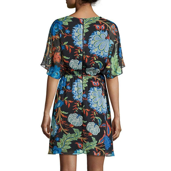 Alice + Olivia Cay Alder Floral Batwing Dolman Sleeves Mini Dress Zoom Boutique Store dress Alice + Olivia Cay Alder Floral Dolman Sleeves Dress | Zoom Boutique