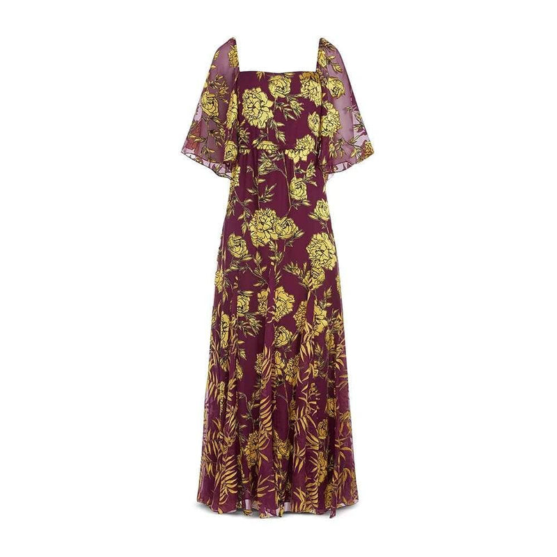 Alice + Olivia Clarine Floral Silk Blend Maxi Dress US0 Zoom Boutique Store dress Alice + Olivia Clarine Floral Silk Blend Maxi Dress | Zoom Boutique