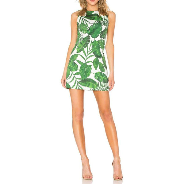 Alice + Olivia Coley Crew Neck Palm Leaf A-Line Dress $285 Zoom Boutique Store dress