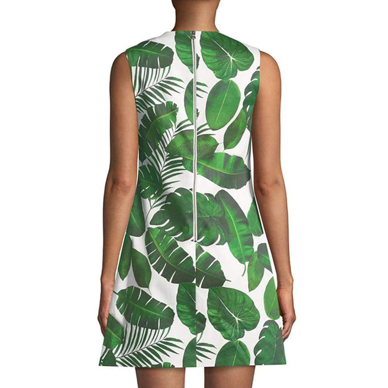 Alice + Olivia Coley Crew Neck Palm Leaf A-Line Dress $285 - Zoom Boutique Store