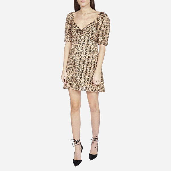 Alice + Olivia Dana Leopard Puff Sleeves Mini Dress Zoom Boutique Store dress Alice + Olivia Dana Leopard Puff Sleeves Mini Dress | Zoom Boutique