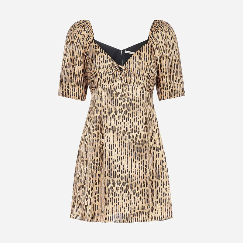 Alice + Olivia Dana Leopard Puff Sleeves Mini Dress US0 Zoom Boutique Store dress Alice + Olivia Dana Leopard Puff Sleeves Mini Dress | Zoom Boutique