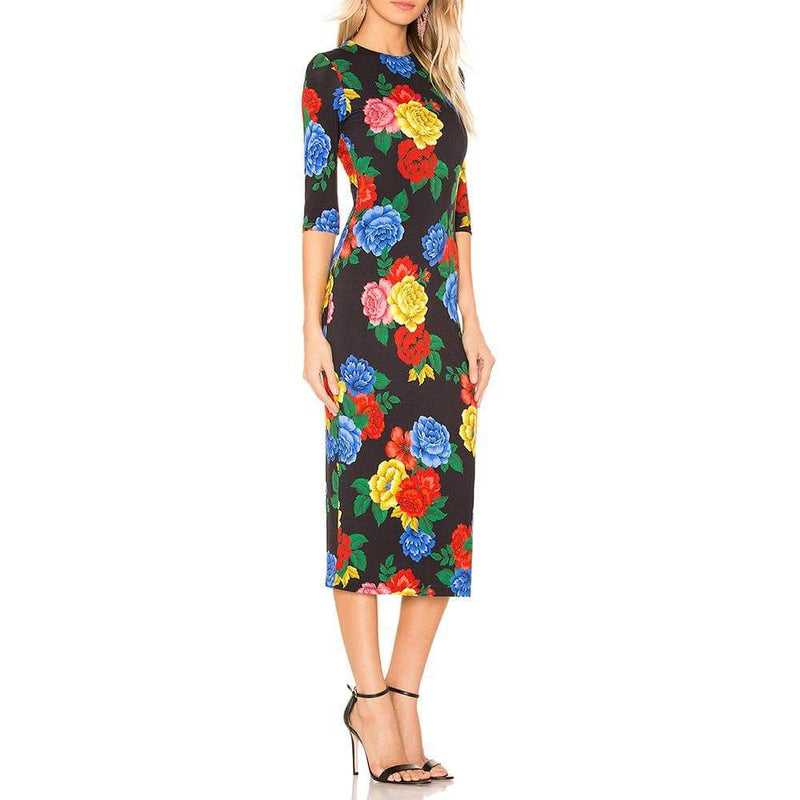 Alice + Olivia Delora Camellia Fitted Jersey Midi Dress $330 Zoom Boutique Store dress