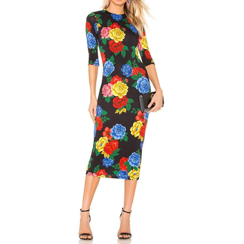 Alice + Olivia Delora Camellia Fitted Jersey Midi Dress $330 2 Zoom Boutique Store dress