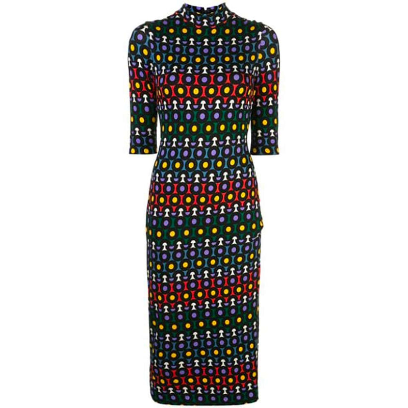 Alice + Olivia Delora Geometric Fitted Jersey Midi Dress RRP$330 0 Zoom Boutique Store dress Alice + Olivia Delora Geometric Fitted Jersey Dress | Zoom Boutique