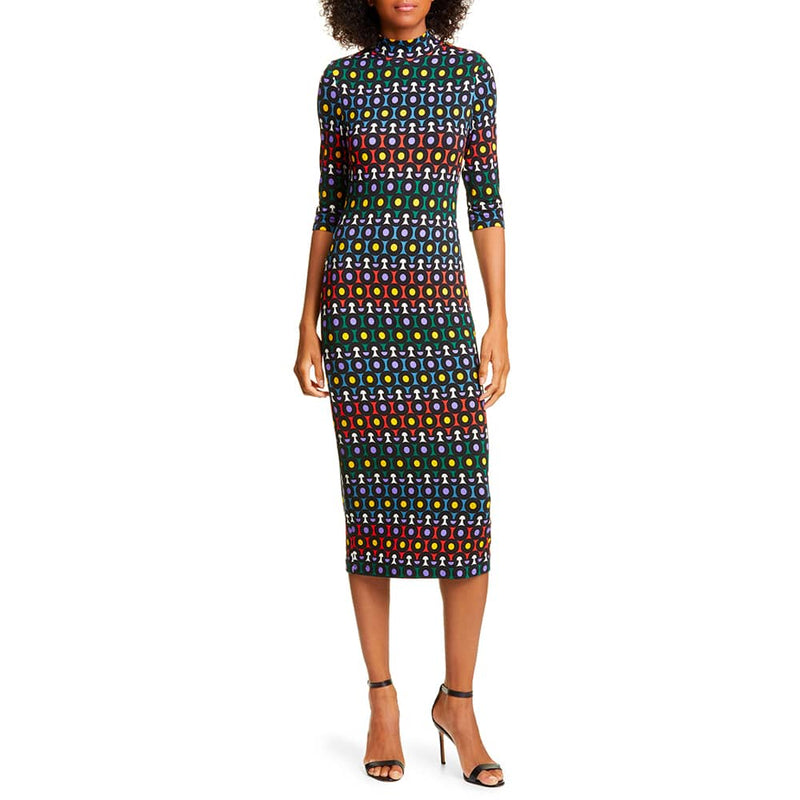 Alice + Olivia Delora Geometric Fitted Jersey Midi Dress RRP$330 Zoom Boutique Store dress Alice + Olivia Delora Geometric Fitted Jersey Dress | Zoom Boutique