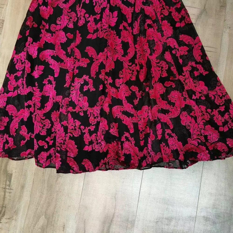 Alice + Olivia Dita Smocked Neck Devore Chiffon Silk Blend Maxi Dress Zoom Boutique Store dress Alice + Olivia Dita Smocked Neck Silk Blend Maxi Dress | Zoom Boutique