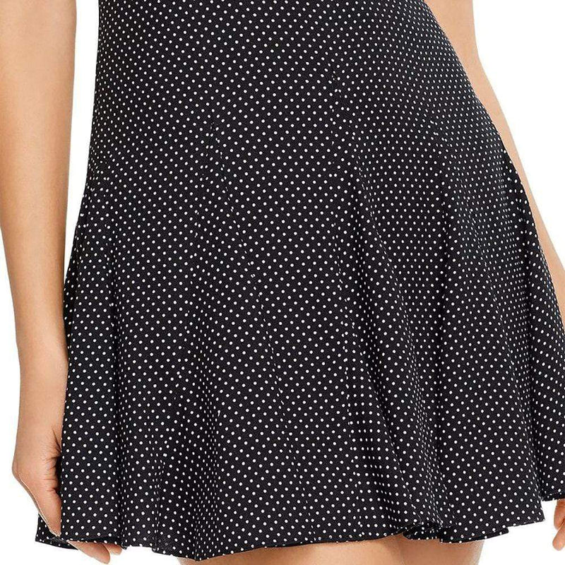 Alice + Olivia Dolly Pleated Polka Dot Godet Inset Crepe Mini Dress Zoom Boutique Store dress Alice + Olivia Dolly Polka Dot Godet Crepe Mini Dress | Zoom Boutique