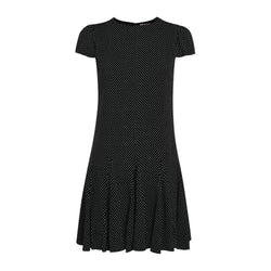 Alice + Olivia Dolly Pleated Polka Dot Godet Inset Crepe Mini Dress US2 Zoom Boutique Store dress Alice + Olivia Dolly Polka Dot Godet Crepe Mini Dress | Zoom Boutique