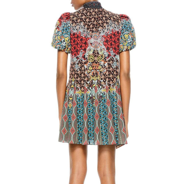 Alice + Olivia Janis Smock Neck Puff Sleeve Floral Patch Minidress RRP$395 Zoom Boutique Store dress Alice + Olivia Janis Smock Neck Puff Sleeve Minidress | Zoom Boutique