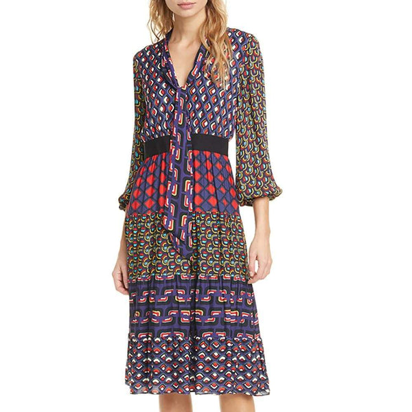 Alice + Olivia Karolina Balloon Sleeve Tiered Midi Dress RRP$495 - Zoom Boutique Store