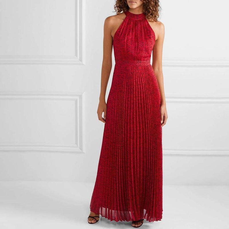 Alice + Olivia Kelissa Pleated Leopard Voile Halter Maxi Dress RRP$640 - Zoom Boutique Store