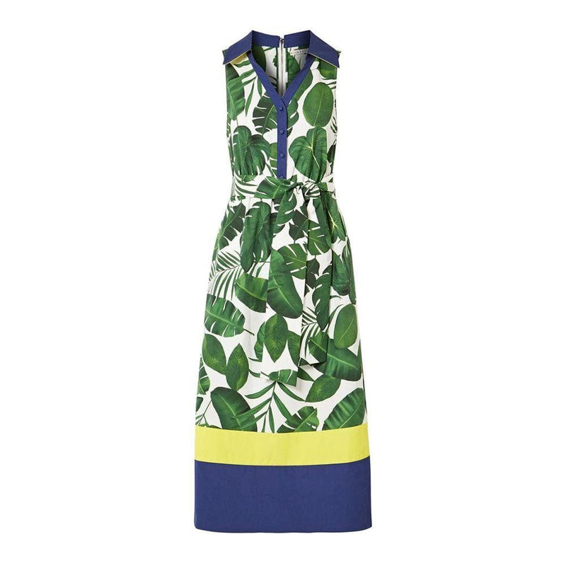 Alice + Olivia Margot Leaf Print Cotton Poplin Midi Dress US0 Zoom Boutique Store dress Alice + Olivia Margot Leaf Print Cotton Poplin Dress | Zoom Boutique