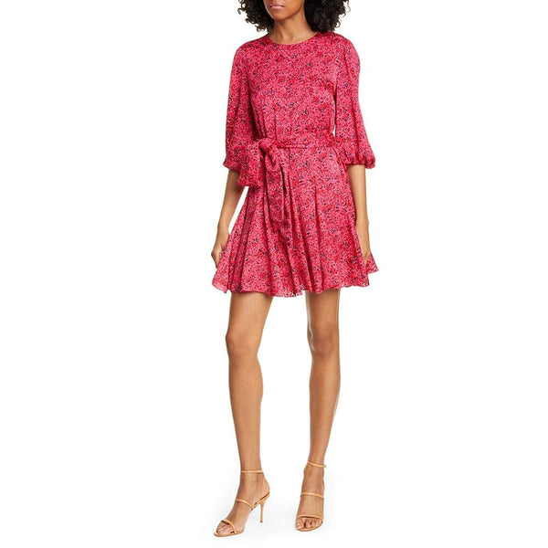 Alice + Olivia Mina Floral Print Puff Sleeve Godet Mini Dress Zoom Boutique Store dress Alice + Olivia Mina Floral Puff Sleeve Godet Mini Dress |Zoom Boutique