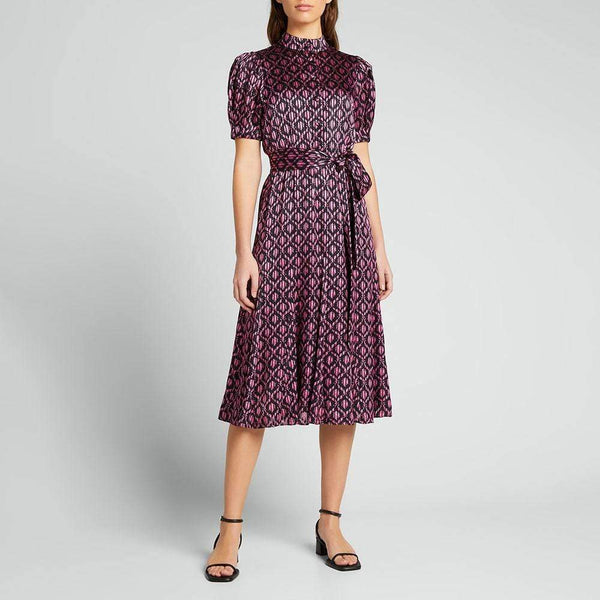 Alice + Olivia Neoma Puff Sleeve Godet Belted Satin Midi Dress Zoom Boutique Store dress Alice + Olivia Neoma Puff Sleeve Godet Midi Dress | Zoom Boutique