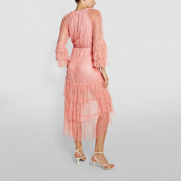 Alice + Olivia Onica Asymmetrical Lace High Low Ruffle Dress Zoom Boutique Store dress Alice + Olivia Onica Asymmetrical Lace High Low Dress | Zoom Boutique