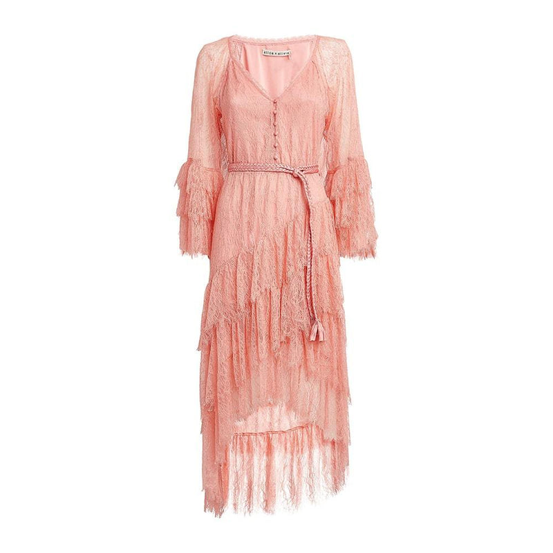 Alice + Olivia Onica Asymmetrical Lace High Low Ruffle Dress US2 Zoom Boutique Store dress Alice + Olivia Onica Asymmetrical Lace High Low Dress | Zoom Boutique