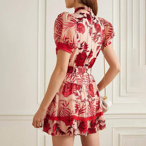 Alice + Olivia Regan Puff Shoulder Tiered Floral Mini Dress RRP$595 Zoom Boutique Store dress Alice + Olivia Regan Puff Shoulder Tiered Mini Dress | Zoom Boutique