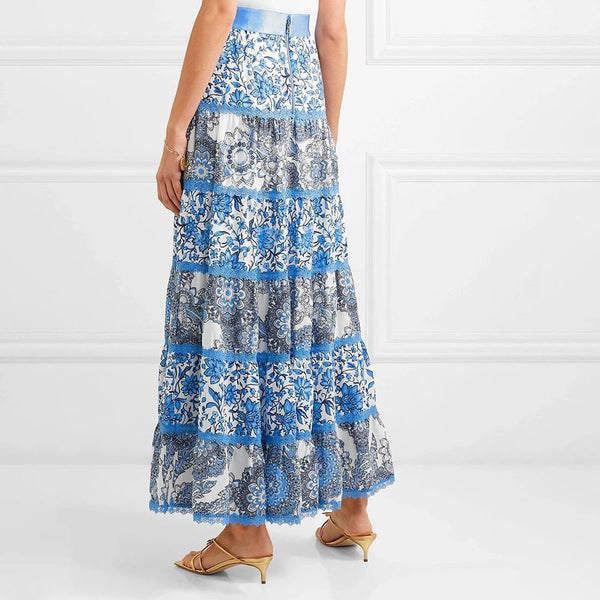Alice + Olivia Satin Lace Floral Crepe de Chine Maxi Skirt Zoom Boutique Store skirt Alice + Olivia Satin Lace Floral Crepe de Chine Skirt | Zoom Boutique