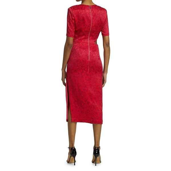 Alice + Olivia Stella Cut Out Floral Jacquard Midi Sheath Dress Zoom Boutique Store dress Alice + Olivia Stella Cut Out Jacquard Sheath Dress | Zoom Boutique