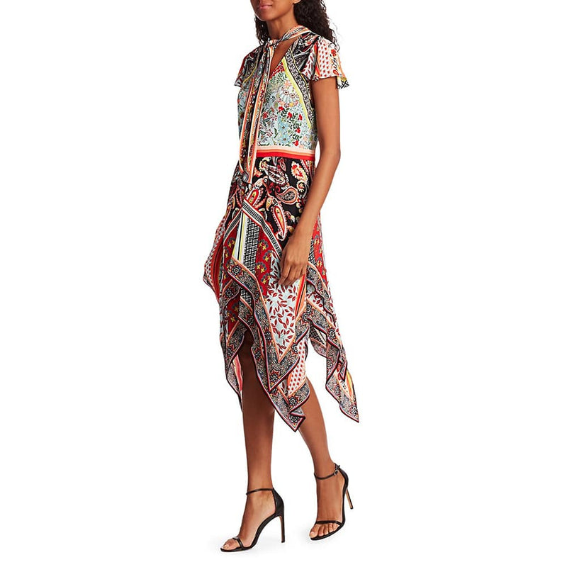 Alice + Olivia Tamara Paisley Tirered Handkerchief Sheath Dress RRP$660 Zoom Boutique Store dress Alice+Olivia Tamara Paisley Tirered Handkerchief Dress | Zoom Boutique