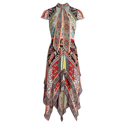 Alice + Olivia Tamara Paisley Tirered Taschentuch Etuikleid UVP $ 660 US0 Zoom Boutique Store Kleid Alice + Olivia Tamara Paisley Tirered Taschentuch Kleid | Zoom Boutique