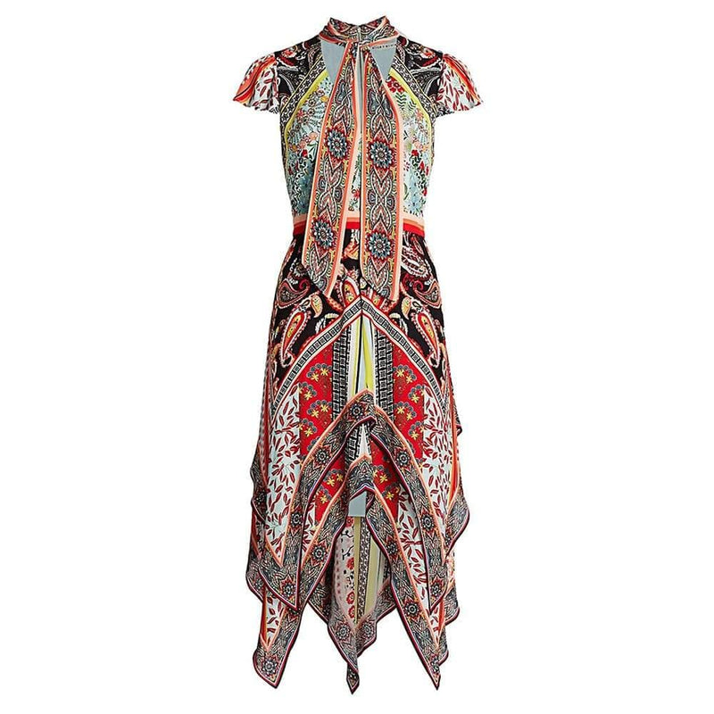 Alice + Olivia Tamara Paisley Tirered Handkerchief Sheath Dress RRP$660 US0 Zoom Boutique Store dress Alice+Olivia Tamara Paisley Tirered Handkerchief Dress | Zoom Boutique