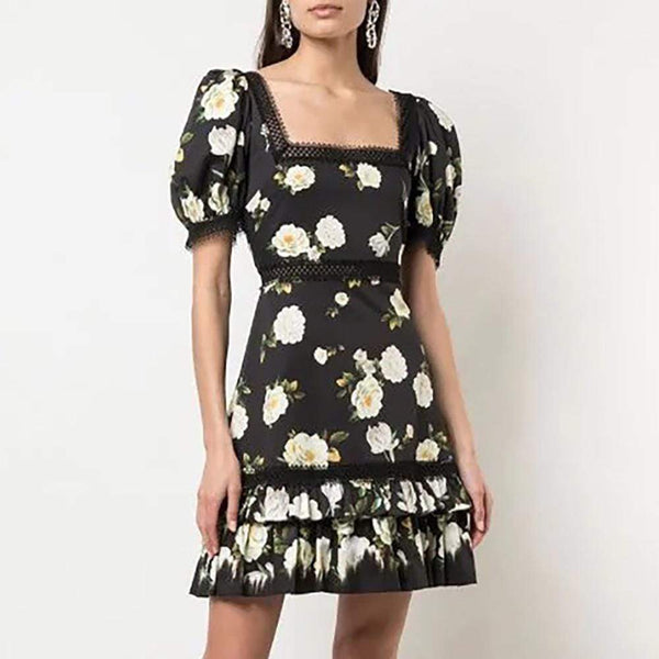 Alice + Olivia Wylie Square Neck Puff Sleeve Mini Dress RRP$440 - Zoom Boutique Store
