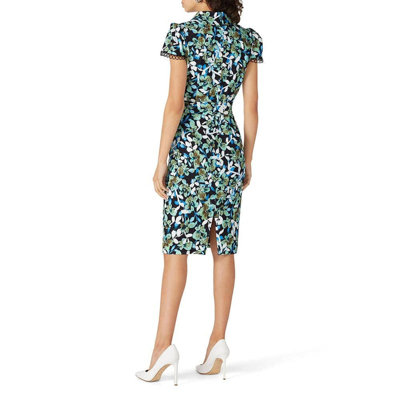 Badgley Mischka Blue Floral Cap Sleeve Collared Sheath Dress Zoom Boutique Store dress Badgley Mischka Blue Floral Cap Sleeve Sheath Dress | Zoom Boutique