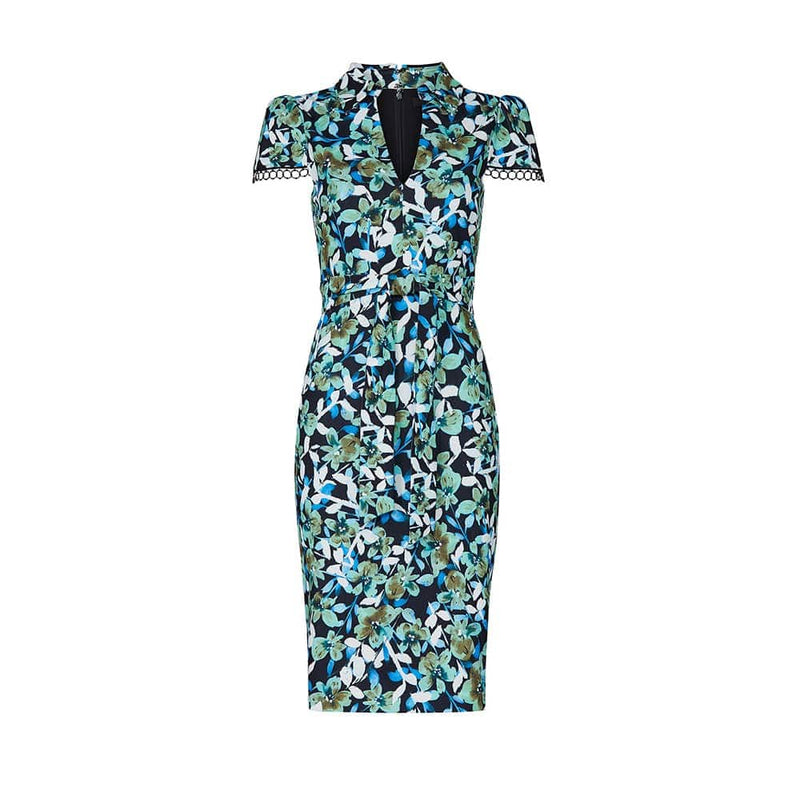 Badgley Mischka Blue Floral Cap Sleeve Collared Sheath Dress US0 Zoom Boutique Store dress Badgley Mischka Blue Floral Cap Sleeve Sheath Dress | Zoom Boutique