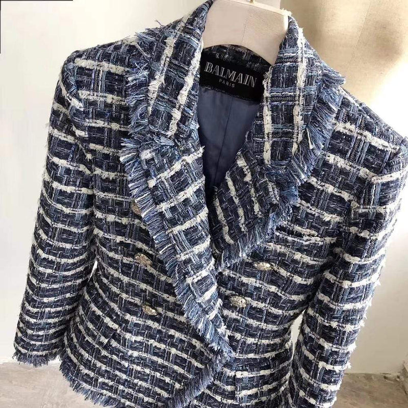 Balmain Tweed Blazer with Double Breasted Buttons RRP$2880 - Zoom Boutique Store