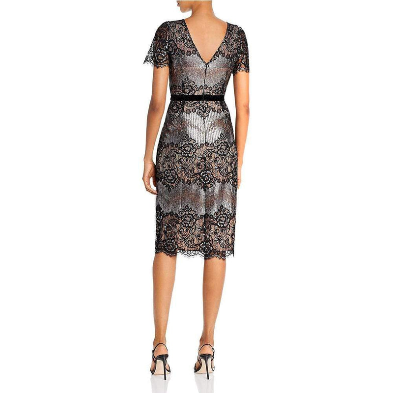 BCBG Max Azria Metallic Lace Cocktail Pencil Dress RRP$338 - Zoom Boutique Store