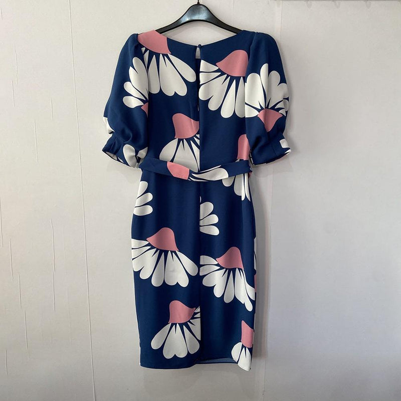 Boden Olwen Blue Floral Petals Puff Sleeves Waist Tie Midi Dress Zoom Boutique Store dress Boden Olwen Floral Puff Sleeves Waist Tie Midi Dress | Zoom Boutique