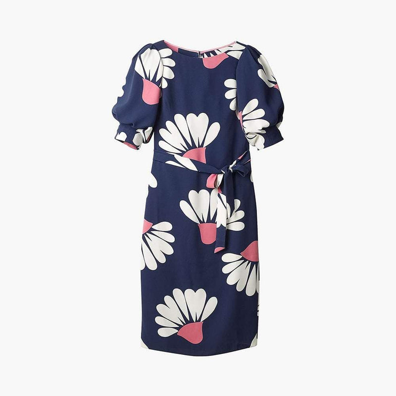 Boden Olwen Blue Floral Petals Puff Sleeves Waist Tie Midi Dress UK10 Zoom Boutique Store dress Boden Olwen Floral Puff Sleeves Waist Tie Midi Dress | Zoom Boutique