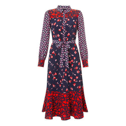 Boden Sybil Navy Wildflower Midi Shirt Dress RRP$189 UK6 Zoom Boutique Store dress Boden Sybil Navy Wildflower Midi Shirt Dress | Zoom Boutique